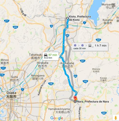 Mapa Kioto-Nara