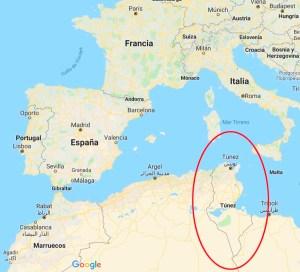 Mapa Túnez con contorno